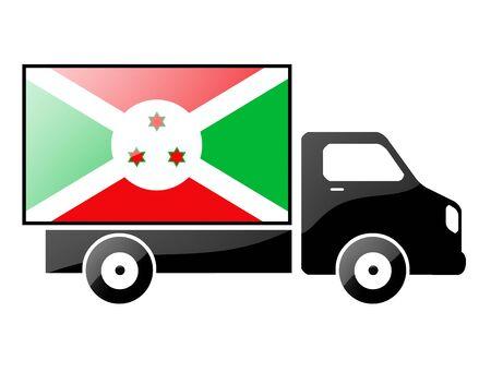 burundi: The Burundi flag painted on the silhouette of a truck. glossy illustration Stock Photo