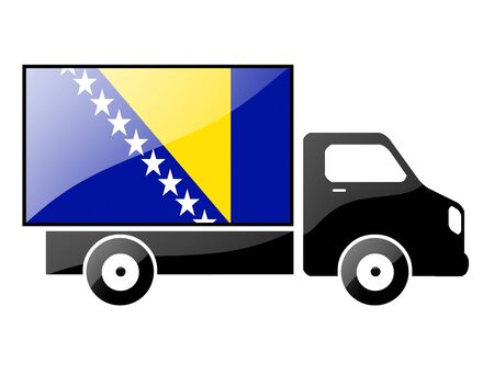 portage: The Bosnia and Herzegovina flag painted on the silhouette of a truck. glossy illustration Stock Photo