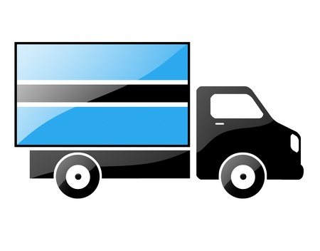 conveyance: The Botswana flag painted on the silhouette of a truck. glossy illustration Stock Photo