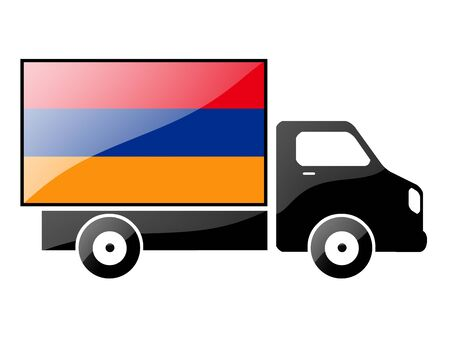 conveyance: The Armenian flag painted on the silhouette of a truck. glossy illustration