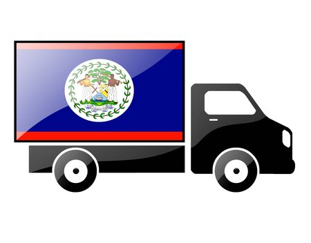 The Belize flag painted on the silhouette of a truck. glossy illustration Stock Photo