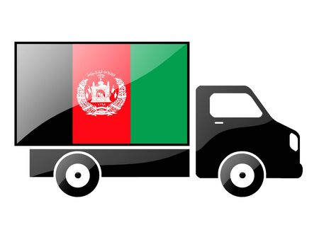 afghan flag: The Afghan flag painted on the silhouette of a truck. glossy illustration