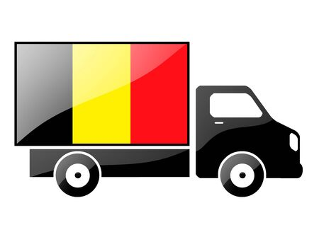 The Belgian flag painted on the silhouette of a truck. glossy illustration Stock Illustration - 15435367