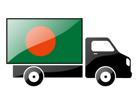 The Bangladesh flag painted on the silhouette of a truck. glossy illustration illustration