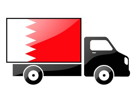 The Bahraini flag painted on the silhouette of a truck. glossy illustration Stock Illustration - 15435616