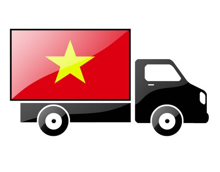 conveyance: The Vietnamese flag painted on the silhouette of a truck. glossy illustration Stock Photo