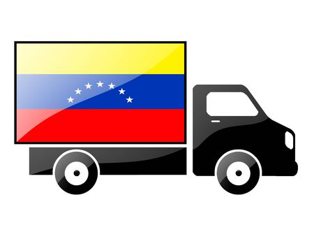 conveyance: The Venezuelan flag painted on the silhouette of a truck. glossy illustration