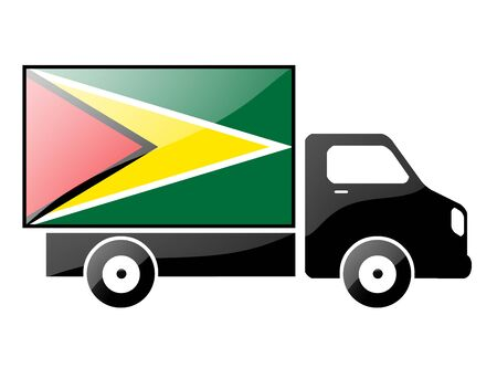 conveyance: The Gayan flag painted on the silhouette of a truck. glossy illustration