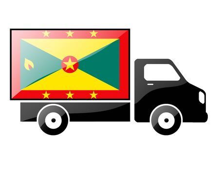 The Grenada flag painted on the silhouette of a truck. glossy illustration Stock Illustration - 15436155