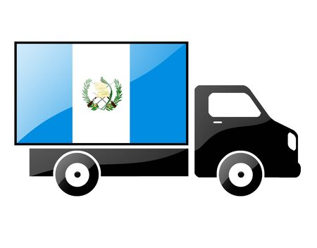 The Guatemala flag painted on the silhouette of a truck. glossy illustration Stock Illustration - 15436073