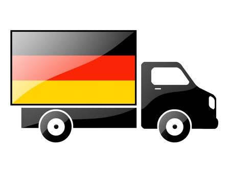 carting: The German flag painted on the silhouette of a truck. glossy illustration Stock Photo