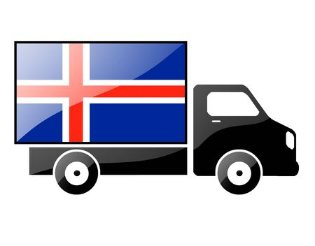 conveyance: The Icelandic flag painted on the silhouette of a truck. glossy illustration