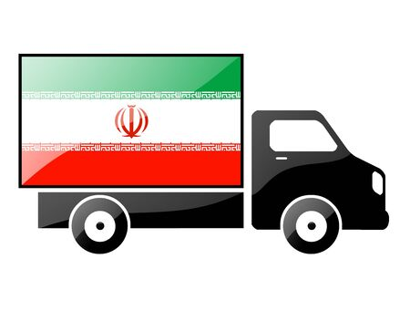 iranian: The Iranian flag painted on the silhouette of a truck. glossy illustration
