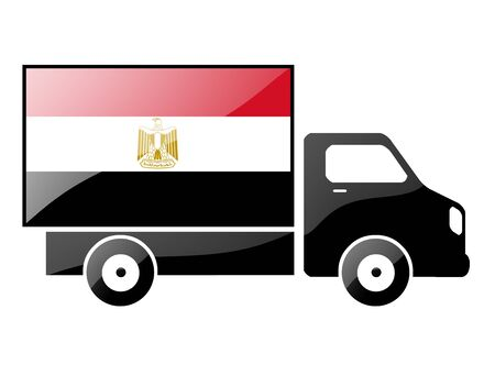 carting: The Egyptian flag painted on the silhouette of a truck. glossy illustration