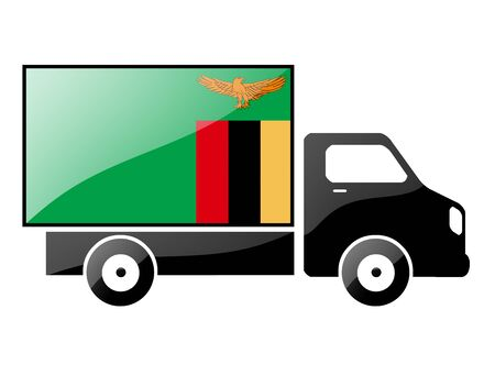 zambian: The Zambian flag painted on the silhouette of a truck. glossy illustration