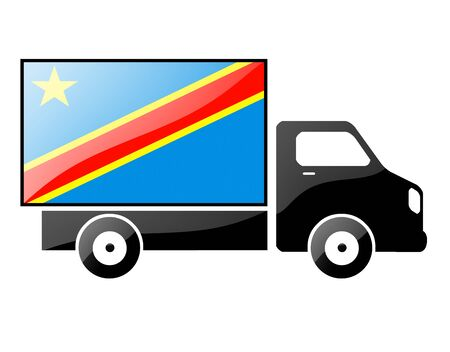 republic of the congo: The Democratic Republic of the Congo flag painted on the silhouette of a truck. glossy illustration