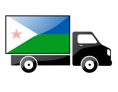 portage: The Djibouti flag painted on the silhouette of a truck. glossy illustration