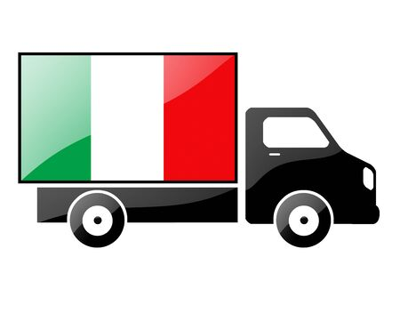 The Italian flag painted on the silhouette of a truck. glossy illustration Stock Illustration - 15435490