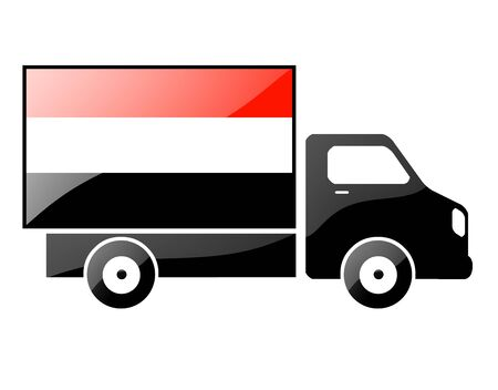 conveyance: The Yemeni flag painted on the silhouette of a truck. glossy illustration Stock Photo