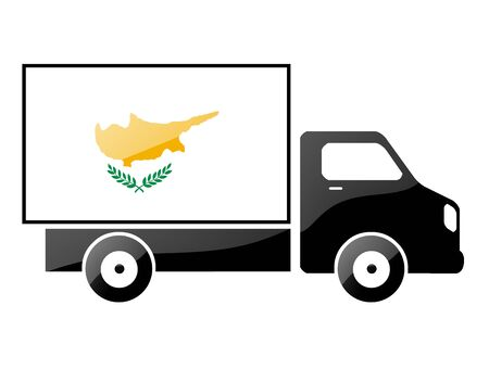 carting: The Cypriot flag painted on the silhouette of a truck. glossy illustration