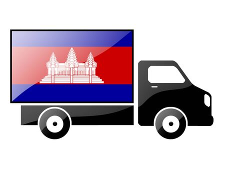 cambodian flag: The Cambodian flag painted on the silhouette of a truck. glossy illustration