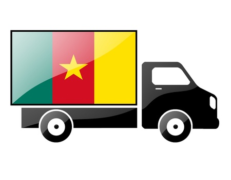 cameroonian: The Cameroonian flag painted on the silhouette of a truck. glossy illustration Stock Photo