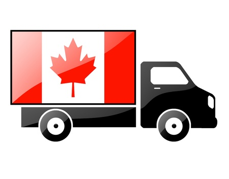 inland: The Canadian flag painted on the silhouette of a truck. glossy illustration Stock Photo