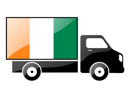 conveyance: The Republic of Côte dIvoire flag painted on the silhouette of a truck. glossy illustration Stock Photo