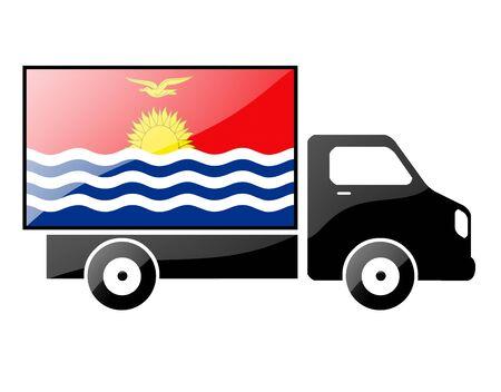 kiribati: The Kiribati flag painted on the silhouette of a truck. glossy illustration Stock Photo