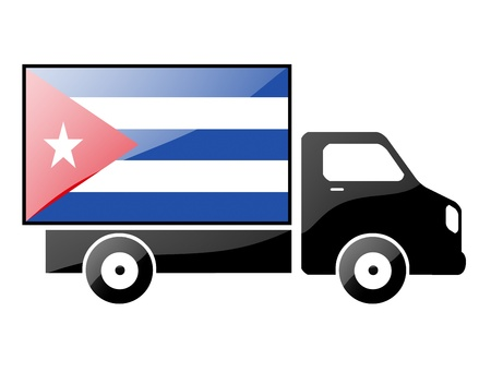 The Cuban flag painted on the silhouette of a truck. glossy illustration Stock Illustration - 15435626
