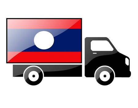 portage: The Laotian flag painted on the silhouette of a truck. glossy illustration Stock Photo