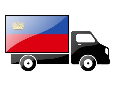portage: The Liechtenstein flag painted on the silhouette of a truck. glossy illustration Stock Photo