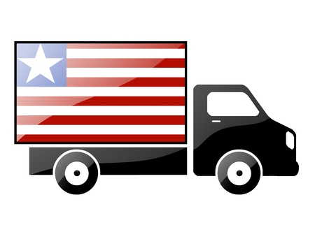 The Liberian flag painted on the silhouette of a truck. glossy illustration illustration