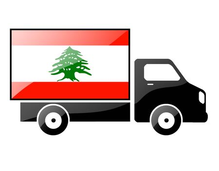 The Lebanese flag painted on the silhouette of a truck. glossy illustration illustration