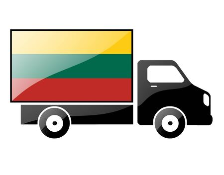 conveyance: The Lithuanian flag painted on the silhouette of a truck. glossy illustration