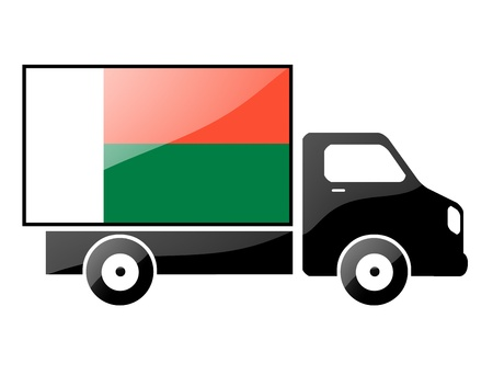conveyance: The Madagascar flag painted on the silhouette of a truck. glossy illustration Stock Photo