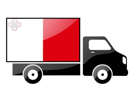 carting: The Maltese flag painted on the silhouette of a truck. glossy illustration