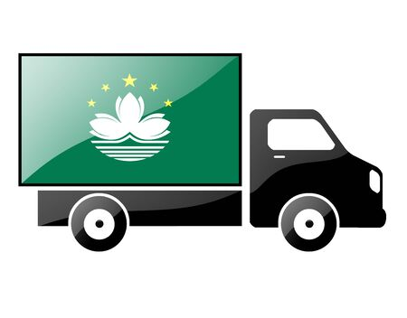 The Macau flag painted on the silhouette of a truck. glossy illustration Stock Illustration - 15435484