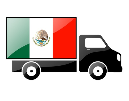 The Mexican flag painted on the silhouette of a truck. glossy illustration illustration