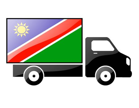 namibia: The Namibia flag painted on the silhouette of a truck. glossy illustration