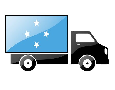 conveyance: The Micronesia flag painted on the silhouette of a truck. glossy illustration