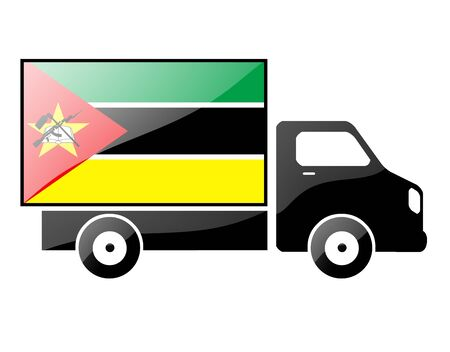 portage: The Mozambique flag painted on the silhouette of a truck. glossy illustration