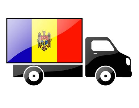 moldovan: The Moldovan flag painted on the silhouette of a truck. glossy illustration