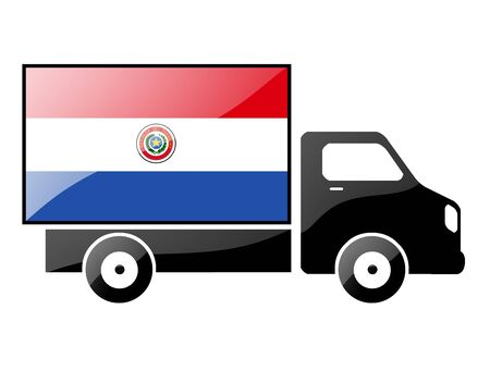 portage: The Paraguayan flag painted on the silhouette of a truck. glossy illustration