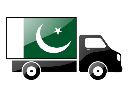 The Pakistani flag painted on the silhouette of a truck. glossy illustration Stock Illustration - 15435615