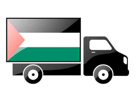 conveyance: The Palestinian flag painted on the silhouette of a truck. glossy illustration