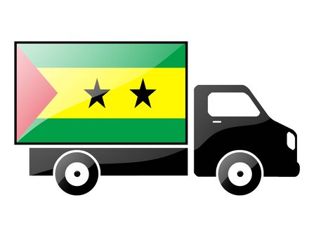 carting: The São Tomé and Príncipe flag painted on the silhouette of a truck. glossy illustration