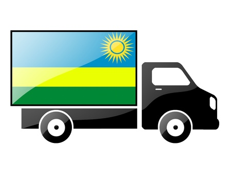 The Rwanda flag painted on the silhouette of a truck. glossy illustration illustration