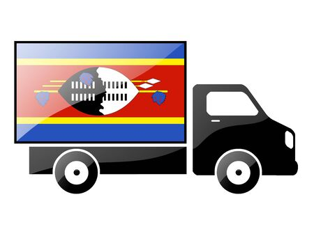 The Swaziland flag painted on the silhouette of a truck. glossy illustration Stock Illustration - 15436145