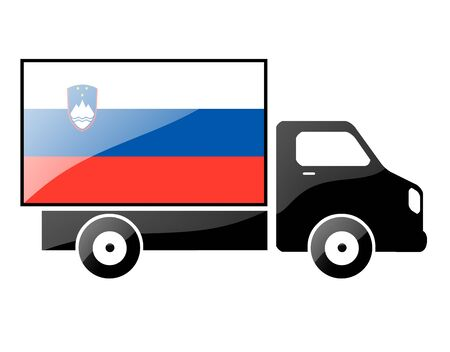The Slovenia flag painted on the silhouette of a truck. glossy illustration Stock Illustration - 15435444